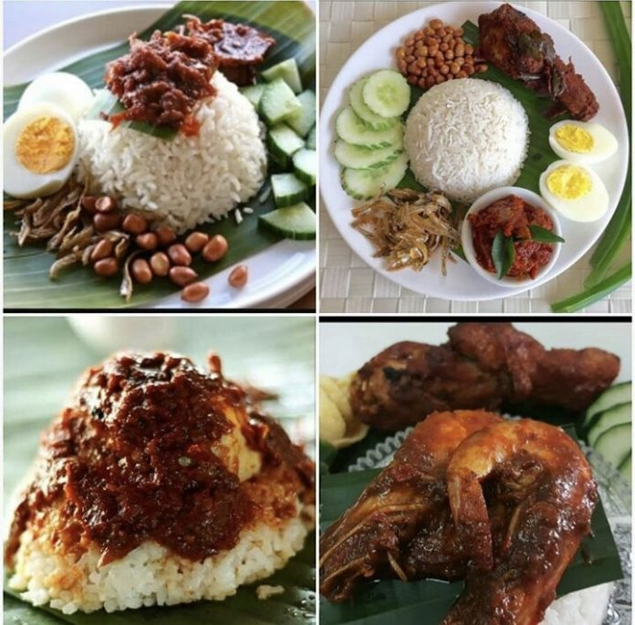 Showing the variety of nasi lemak available in Malaysia