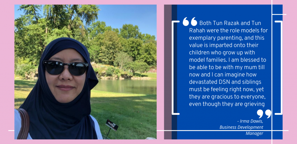 Irma Darwis, Business Development Manager - Thoughts about Tun razak and Tun Rahah's parenting.